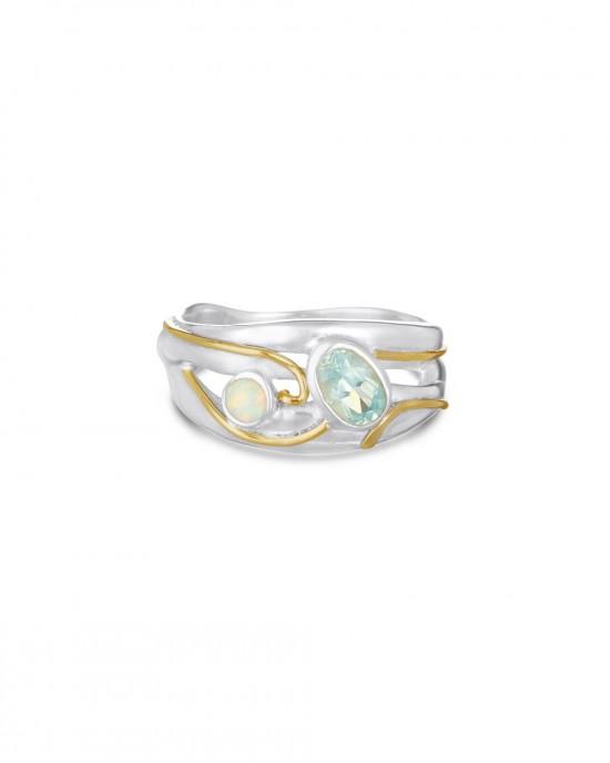 Blue Topaz Pale Opalite Silver Ring - RINGS
