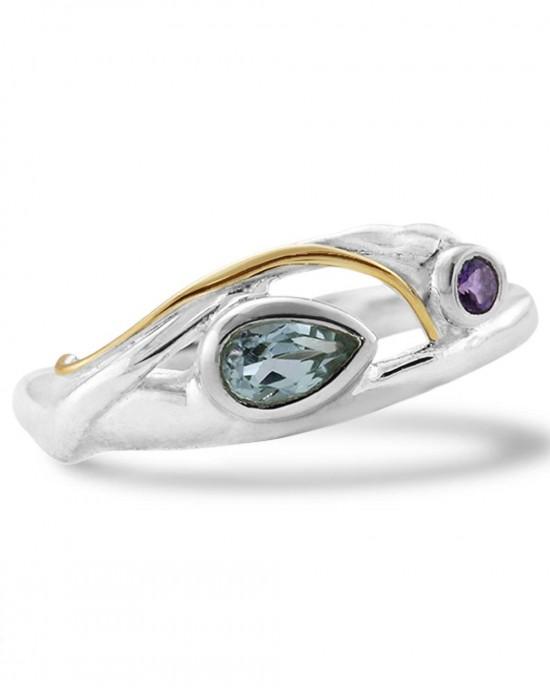 Blue Topaz Purple Amethyst Silver Ring - RINGS