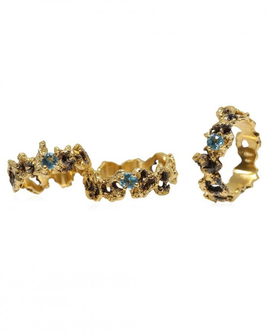Blue Topaz Ring, Silver, Gold, Out of the Sea - RINGS