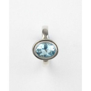 Oval Blue Topaz Silver Ring