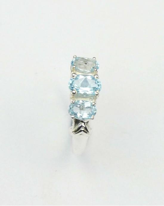 Blue Topaz Three Stone Silver Ring - RINGS