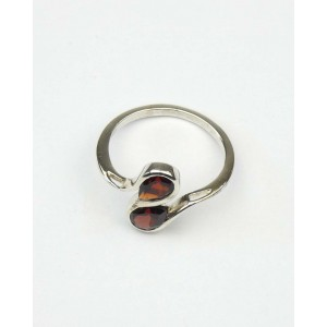 Double Teardrop Garnet Silver Ring