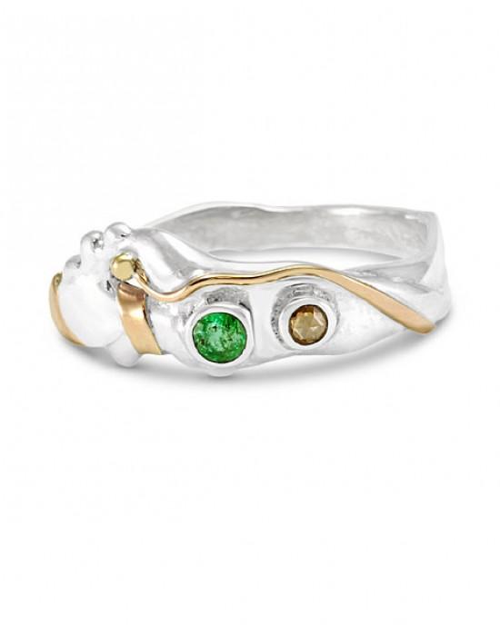 Emerald Champagne Diamond Silver Ring