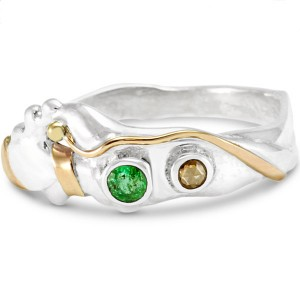 Emerald Champagne Diamond Silver Ring