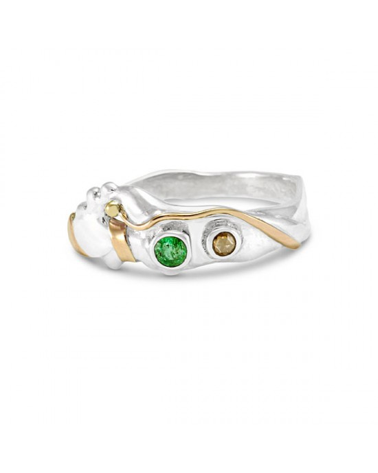 Emerald Champagne Diamond Silver Ring - RINGS
