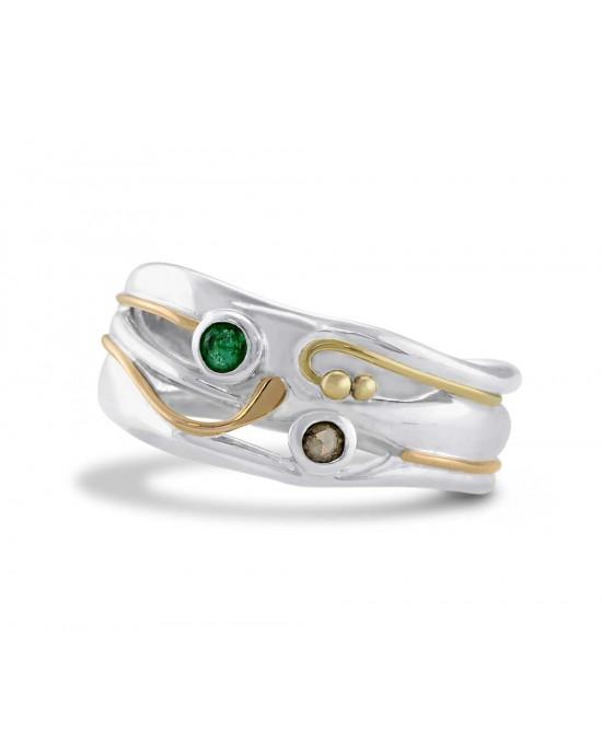 Emerald Diamond Silver RIng - RINGS