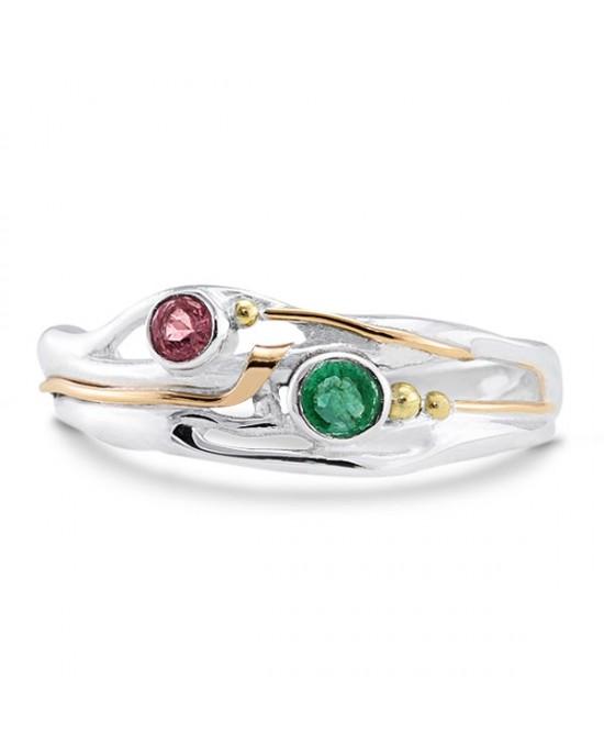 Emerald Pink Tourmaline Silver Ring - RINGS
