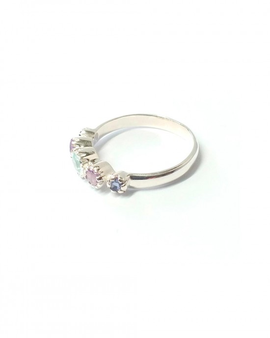 Five Stone Silver Ring - RINGS