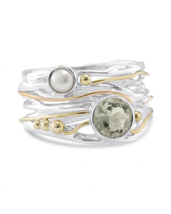 Green Amethyst Pearl Silver Ring - RINGS