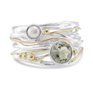 Green Amethyst Pearl Silver Ring