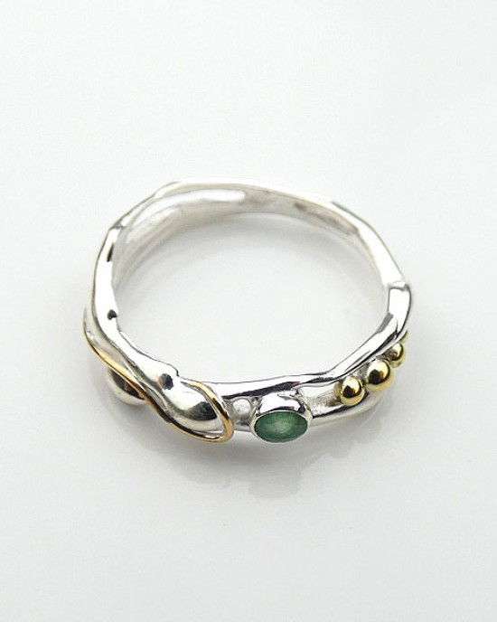 Emerald Silver Ring with Gold Fill