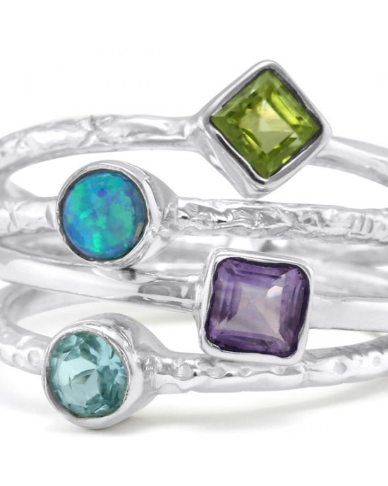 Joined Stacking Ring with 4 Stones - RINGS