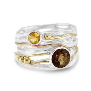 Silver Goldfill Ring with Smoky Quartz Citrine