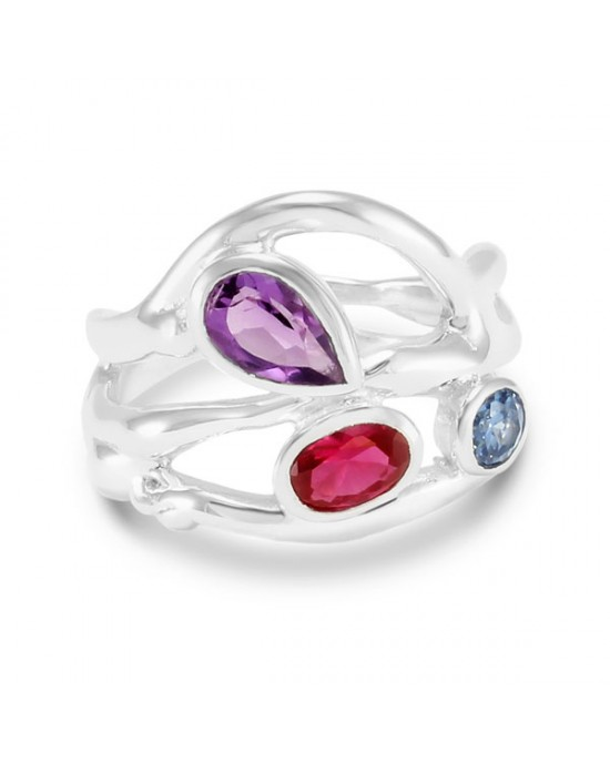 Multi-Coloured Stones Silver Ring - RINGS