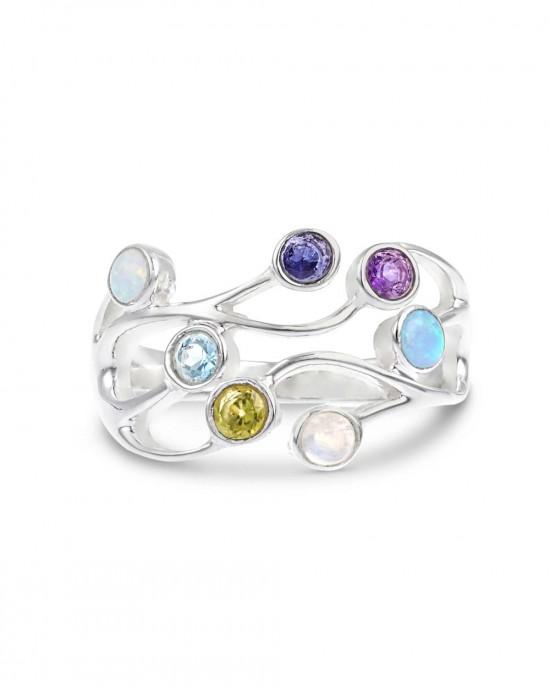 Multi Stone Silver Ring - RINGS