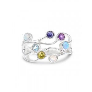 Multi Stone Silver Ring