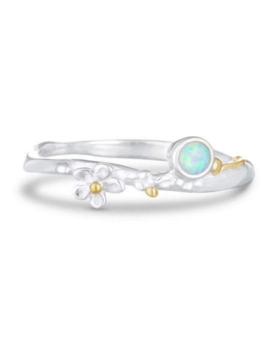Opalite Flower Silver Ring - RINGS