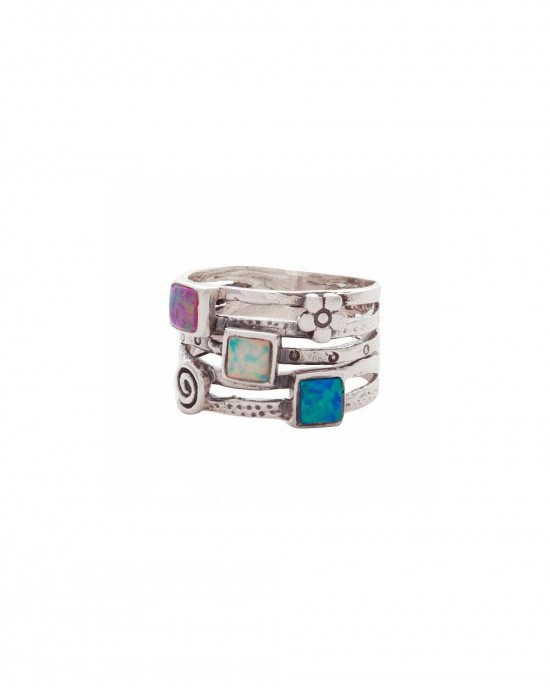 Opalite Flower Silver Textured Ring - RINGS