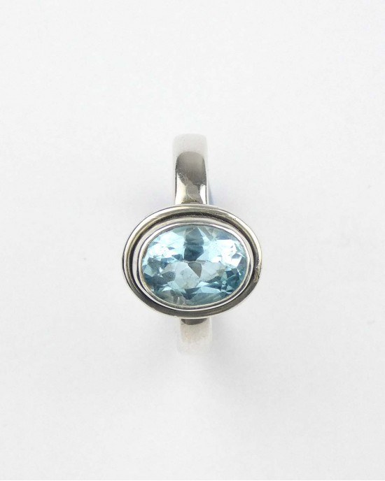 Oval Blue Topaz Silver Ring - RINGS