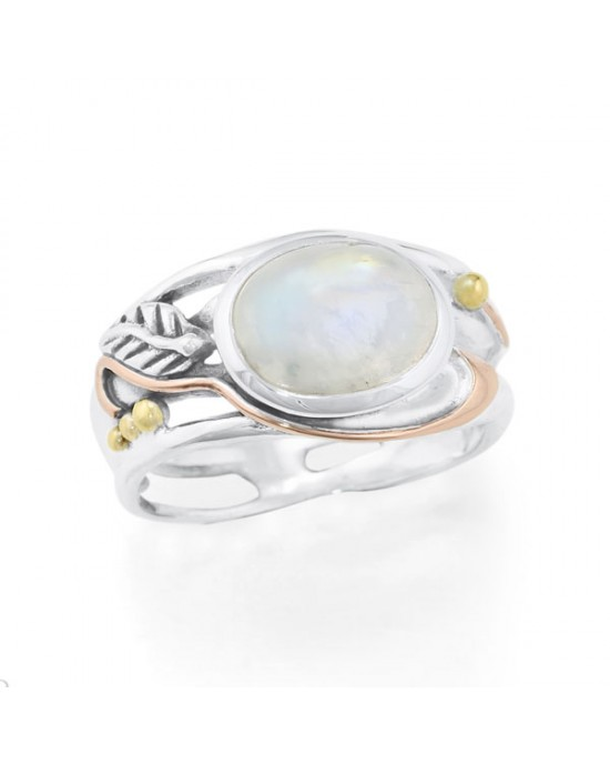 Oval Cabochon Moonstone Silver Ring - RINGS