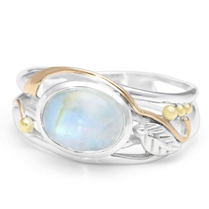 Oval Cabochon Moonstone Silver Ring