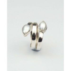Pearl Coiled Silver Ring