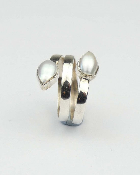 Pearl Coiled Silver Ring,RINGS,Claire Hartley