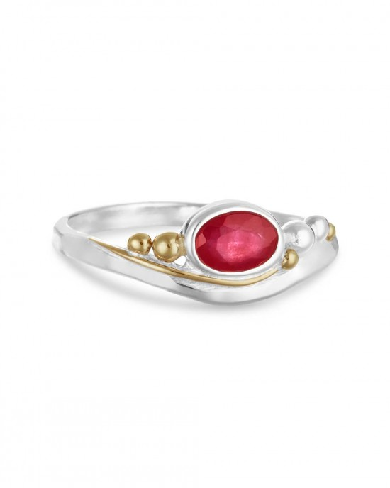 Pink Ruby Silver Ring - RINGS