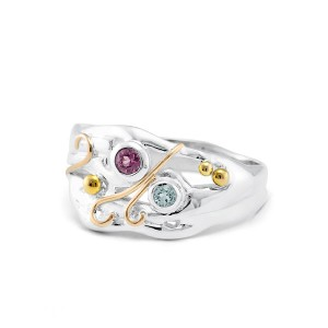 Pink Tourmaline Blue Topaz Ring