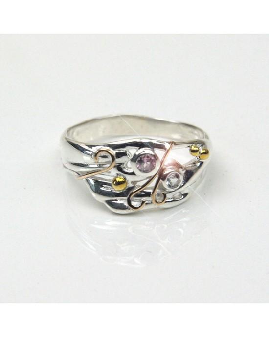 Pink Tourmaline Blue Topaz Silver Ring - RINGS