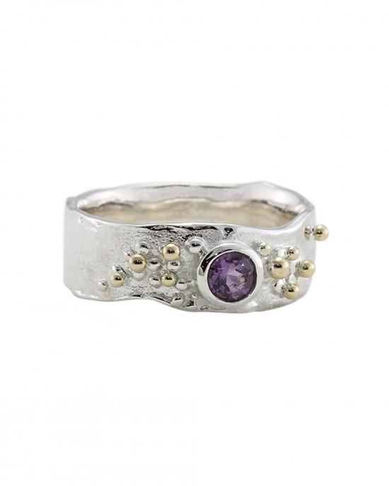 Purple Amethyst Gold Fill Silver Ring - RINGS