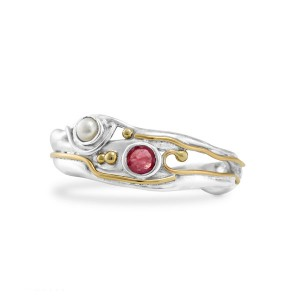 Ruby Pearl Silver Ring