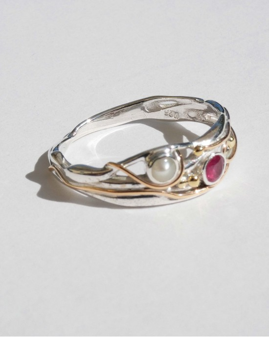 Ruby Pearl Silver Ring - RINGS