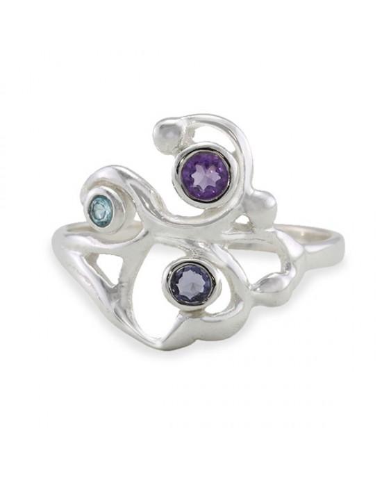 Silver Filigree Ring Amethyst, Iolite Topaz - RINGS