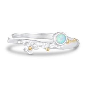 Opalite Flower Silver Ring