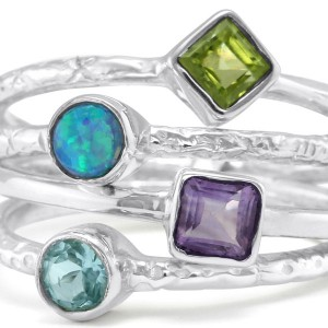 Joined Stacking Ring with 4 Stones