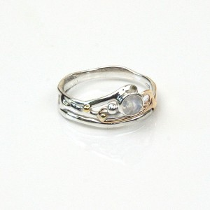 Moonstone Gold Wire Silver Ring