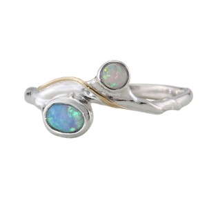 Two Opalite Silver Ring