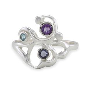 Silver Filigree Ring Amethyst, Iolite Topaz