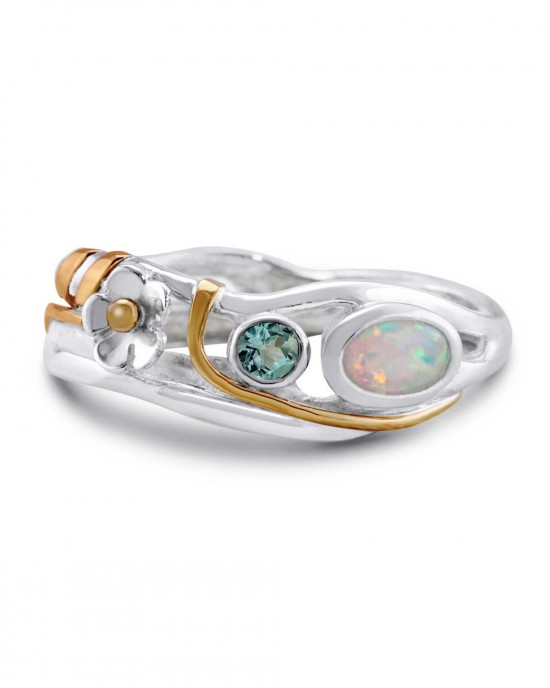 Silver Ring - Blue Topaz, Opalite with Flower - RINGS