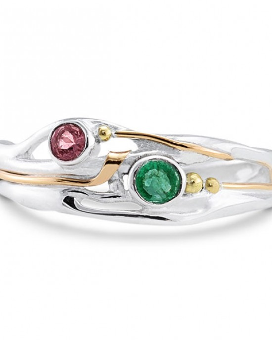 Emerald Pink Tourmaline Silver Ring