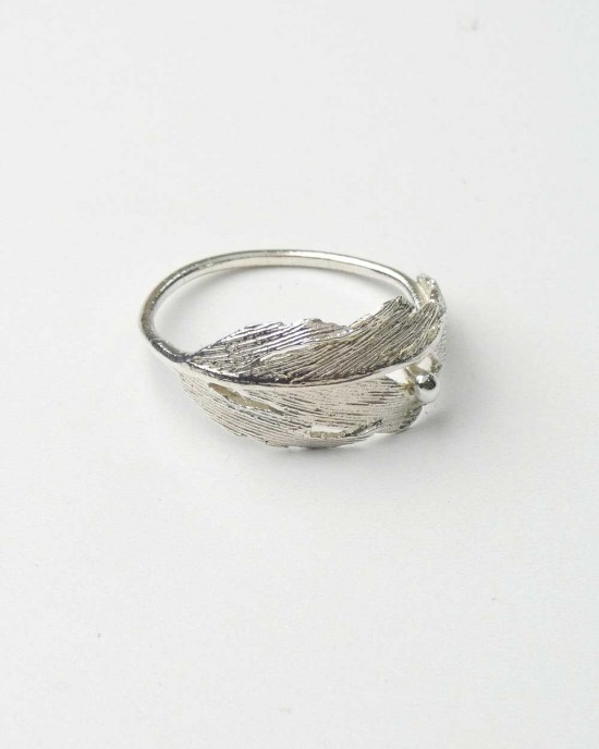 Silver Ring with Feather Design