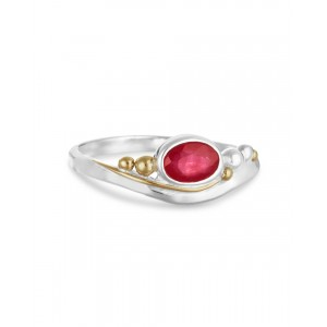 Pink Ruby Silver Ring