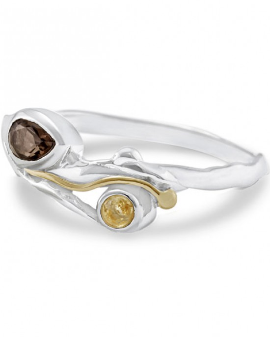 Silver Ring with Smokey Quartz & Citrine
