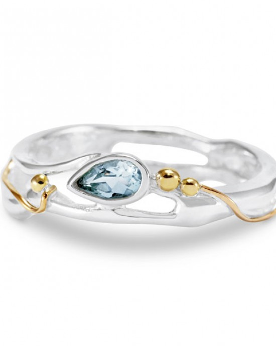 Teardrop Blue Topaz Silver Ring