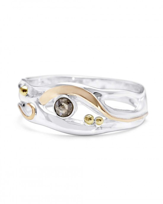 Silver Ring with Champagne Diamond - RINGS