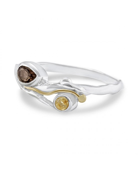 Silver Ring with Smoky Quartz & Citrine - RINGS