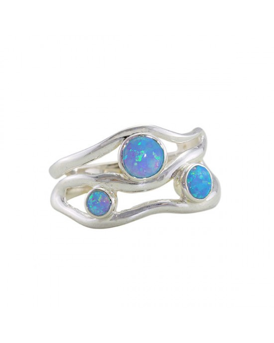Silver Ring with Three Opalites - RINGS