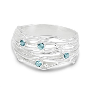 Silver Stranded Ring with Blue Topaz
