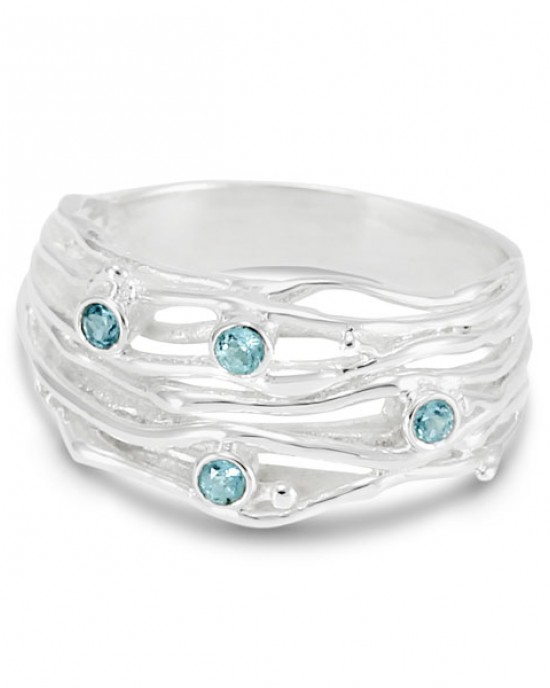 Silver Stranded Ring with Blue Topaz,RINGS,Banyan Jewellery